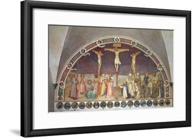 The Crucifixion, with SS. Cosmas, Damian, Francis and Bernard, 1442-Fra Angelico-Framed Giclee Print