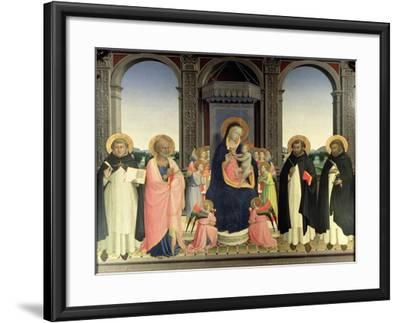Virgin and Child Enthroned, Angels and St. Aquinas, St. Barnabas, St. Dominic and St. Peter, c.1422-Fra Angelico-Framed Giclee Print