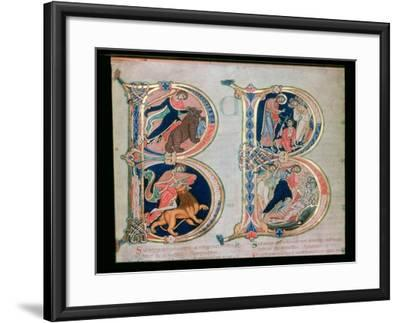 Initial Letter B Beatus Vir - Blessed is the Man, from the Winchester Bible, c.1150-80--Framed Giclee Print