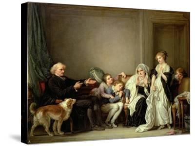 Visit to the Priest-Jean-Baptiste Greuze-Stretched Canvas Print