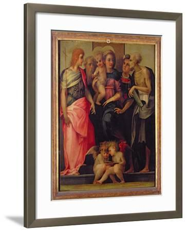 Madonna and Child with Saints, c.1518-Rosso Fiorentino (Battista di Jacopo)-Framed Giclee Print