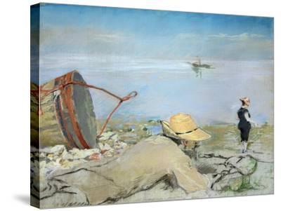 Henri Guerard Relaxing on the Beach-Eva Gonzales-Stretched Canvas Print