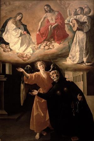 The Vision of St. Alphonsus Rodriguez-Francisco de Zurbar?n-Stretched Canvas Print