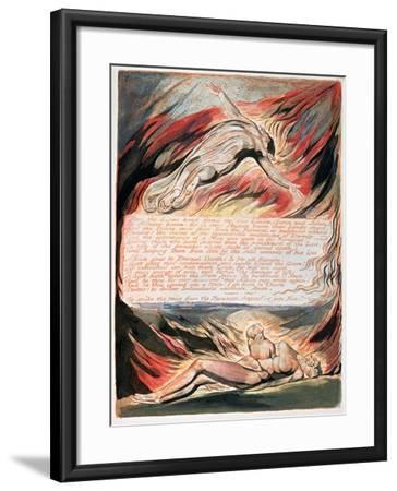 Jerusalem the Emanation of Giant Albion, The Divine Hand Found the Two Limits, Satan and Adam, 1804-William Blake-Framed Giclee Print