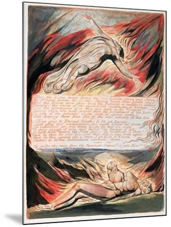 Jerusalem the Emanation of Giant Albion, The Divine Hand Found the Two Limits, Satan and Adam, 1804-William Blake-Mounted Giclee Print
