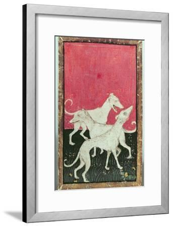 Three Hunting Dogs, One of a Set of Playing Cards, Courtly Hawking, Upper Rhein Are, c.1440-45-Konrad Witz-Framed Giclee Print