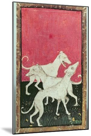 Three Hunting Dogs, One of a Set of Playing Cards, Courtly Hawking, Upper Rhein Are, c.1440-45-Konrad Witz-Mounted Giclee Print