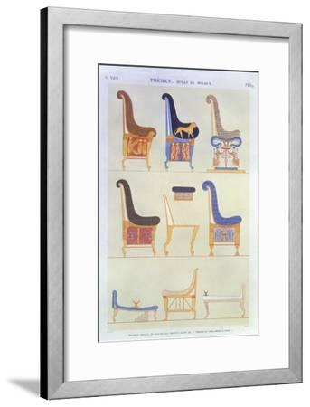 Various Painted Seats and Armchairs, 5th Tomb: Kings at the East, Byban El Molouk, c.1822-Andre Dutertre-Framed Giclee Print
