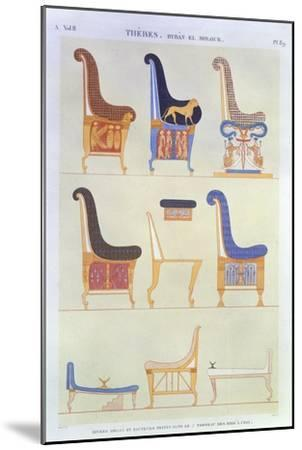 Various Painted Seats and Armchairs, 5th Tomb: Kings at the East, Byban El Molouk, c.1822-Andre Dutertre-Mounted Giclee Print