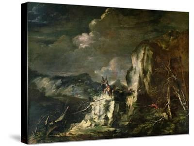 Rocky Landscape with a Huntsman and Warriors-Salvator Rosa-Stretched Canvas Print