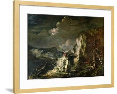 Rocky Landscape with a Huntsman and Warriors-Salvator Rosa-Framed Giclee Print