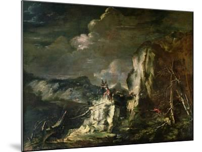 Rocky Landscape with a Huntsman and Warriors-Salvator Rosa-Mounted Giclee Print