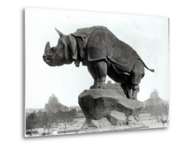 Rhinoceros, 1878, by Alfred Jacquemart-Adolphe Giraudon-Metal Print
