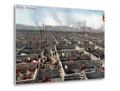Postcard Depicting the Stock Yards and Abattoirs in Chicago, c.1910--Metal Print