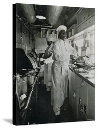 Chef at Work in the Galley of a Baltimore and Ohio Train--Stretched Canvas Print