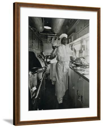 Chef at Work in the Galley of a Baltimore and Ohio Train--Framed Photographic Print