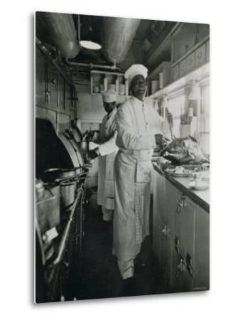 Chef at Work in the Galley of a Baltimore and Ohio Train--Metal Print