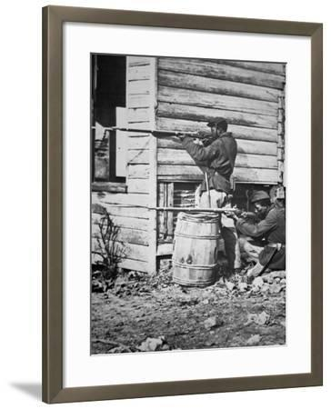 Black Troops of the Union Army on Picket Duty in Virginia During the American Civil War--Framed Photographic Print