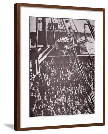 The Crowded Deck of an Immigrant Ship Entering New York Harbour, c.1905--Framed Photographic Print