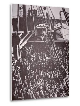 The Crowded Deck of an Immigrant Ship Entering New York Harbour, c.1905--Metal Print