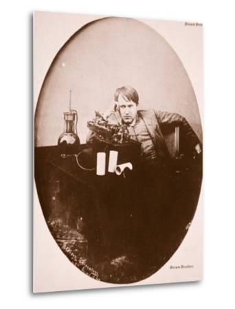 Thomas A. Edison Sitting by His Improved Machine, 1889--Metal Print
