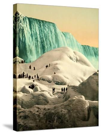 Some People Walk on the Snow, at Their Back, the Niagara's Falls--Stretched Canvas Print