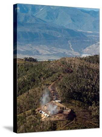 Smoke Rises from a Drilling Rig on the Roan Plateau-Peter M. Fredin-Stretched Canvas Print