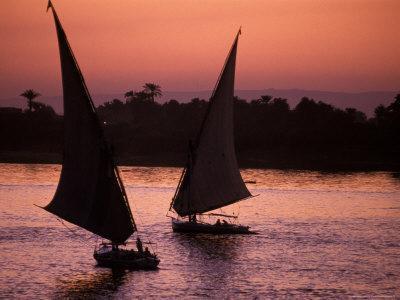 Traditional Feluccas Set Sail on the Nile River, Egypt-Nik Wheeler-Framed Photographic Print