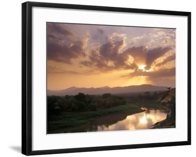 Sunset on the Omo River, Near the Karo Village, Ethiopia-Janis Miglavs-Framed Photographic Print