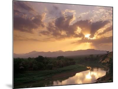Sunset on the Omo River, Near the Karo Village, Ethiopia-Janis Miglavs-Mounted Photographic Print