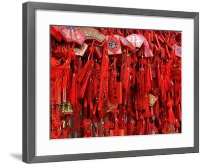 Placques Adorn the Fence of the Four Gates Buddhist Temple, Shandong Province, Jinan, China-Bruce Behnke-Framed Photographic Print