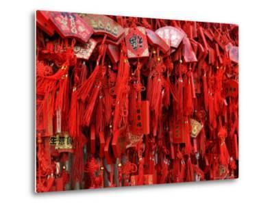 Placques Adorn the Fence of the Four Gates Buddhist Temple, Shandong Province, Jinan, China-Bruce Behnke-Metal Print