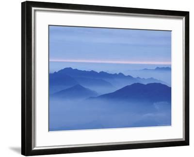 Mountain in Mist at Sunrise, Mt. Huangshan (Yellow Mountain), China-Keren Su-Framed Photographic Print