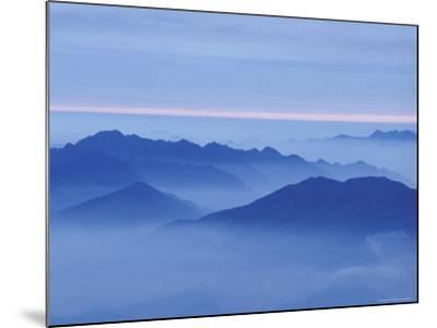 Mountain in Mist at Sunrise, Mt. Huangshan (Yellow Mountain), China-Keren Su-Mounted Photographic Print