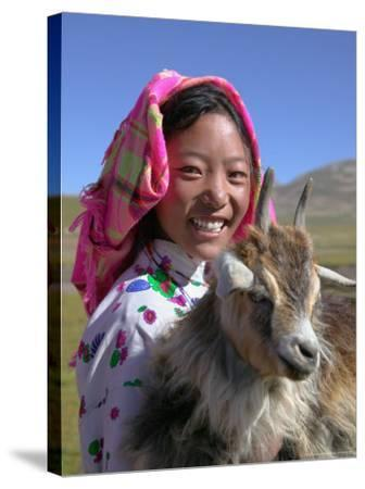 Tibetan Girl Holding Sheep in the Meadow, East Himalayas, Tibet, China-Keren Su-Stretched Canvas Print
