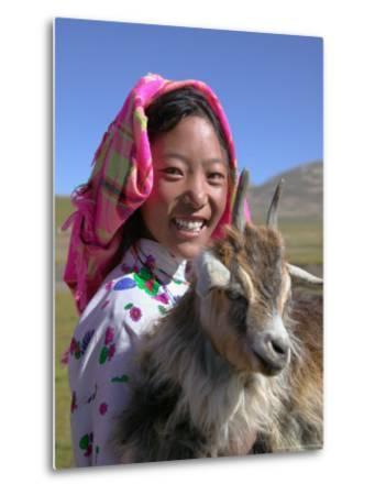 Tibetan Girl Holding Sheep in the Meadow, East Himalayas, Tibet, China-Keren Su-Metal Print