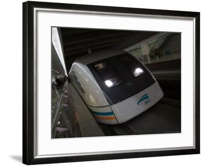 Meglev Train Prepares to Depart Airport Train Station, Shanghai, China-Paul Souders-Framed Photographic Print