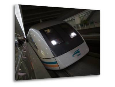 Meglev Train Prepares to Depart Airport Train Station, Shanghai, China-Paul Souders-Metal Print