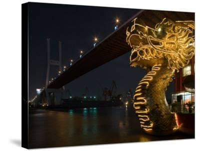 Dragon Outside Floating Chinese Restaurant under Nanpu Bridge, Shanghai, China-Paul Souders-Stretched Canvas Print