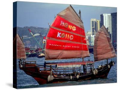 Duk Ling Junk Boat Sails in Victoria Harbor, Hong Kong, China-Russell Gordon-Stretched Canvas Print