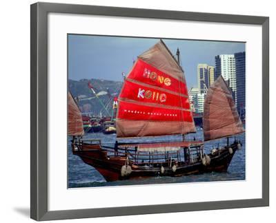 Duk Ling Junk Boat Sails in Victoria Harbor, Hong Kong, China-Russell Gordon-Framed Photographic Print