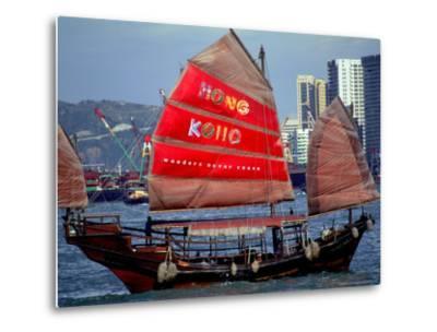 Duk Ling Junk Boat Sails in Victoria Harbor, Hong Kong, China-Russell Gordon-Metal Print