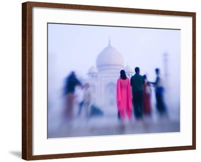 Pink Sari, Taj Mahal, India-Walter Bibikow-Framed Photographic Print