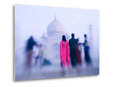 Pink Sari, Taj Mahal, India-Walter Bibikow-Metal Print