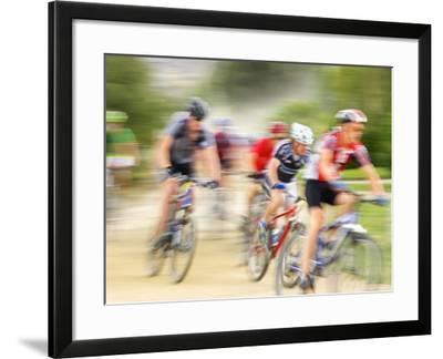 Mountain Bike Race, Bannockburn, near Cromwell, Central Otago, South Island, New Zealand-David Wall-Framed Photographic Print