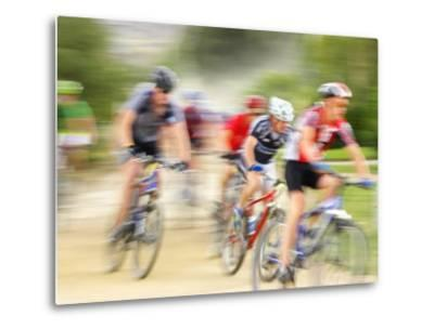 Mountain Bike Race, Bannockburn, near Cromwell, Central Otago, South Island, New Zealand-David Wall-Metal Print