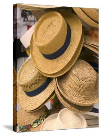 Straw Hats at Port Lucaya Marketplace, Grand Bahama Island, Caribbean-Walter Bibikow-Stretched Canvas Print