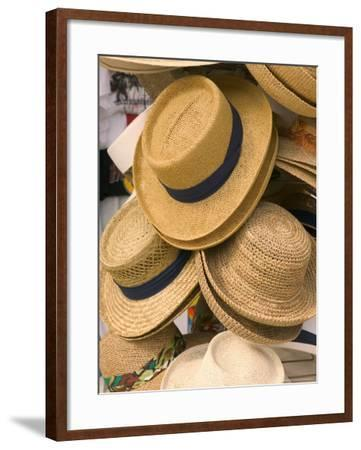 Straw Hats at Port Lucaya Marketplace, Grand Bahama Island, Caribbean-Walter Bibikow-Framed Photographic Print