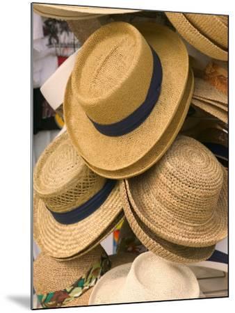 Straw Hats at Port Lucaya Marketplace, Grand Bahama Island, Caribbean-Walter Bibikow-Mounted Photographic Print