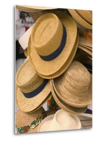 Straw Hats at Port Lucaya Marketplace, Grand Bahama Island, Caribbean-Walter Bibikow-Metal Print